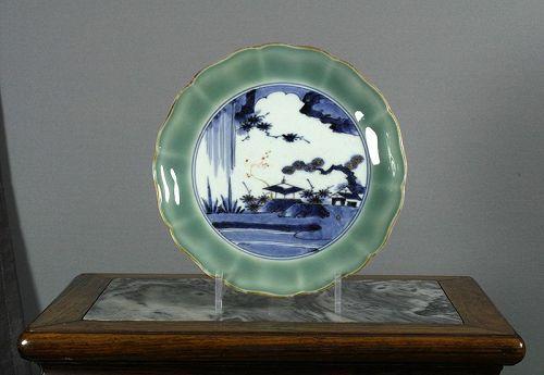 Japanese Celadon Landscape Dish, circe 1750 ~ 1780