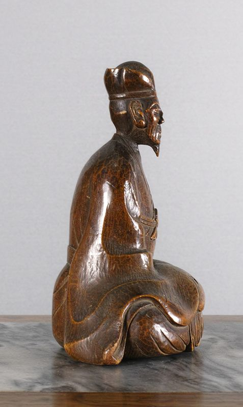 Japanese Wood Sculpture of a Poet, perhaps Basho.