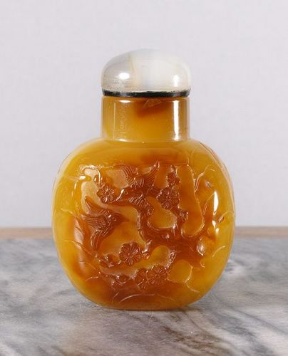 Fine Large Carved Agate Snuff Bottle.