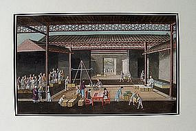 Chinese Pith Painting, Europeans and Tea, 19C.