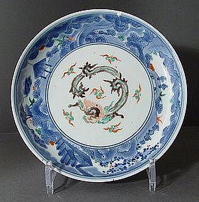 Fine Arita Kakiemon Style Polychrome Dish, 18C