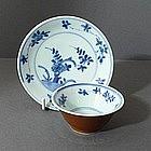 Chinese Export Kangxi Bowl and Saucer, 17thC.
