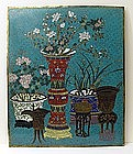 Large Chinese Cloisonne Architectural Panel E.  19C.