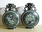 Fine pair of Chinese cloisonne moon flasks, 18/19C