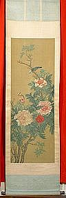 Chinese Bird & Flower Scroll Painting 17th~18th Century