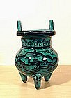 Rare Painted Turquoise Cizhou Censer, Yuan � Ming.
