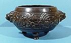 Rare Dated Silver Inlaid Vietnamese Bronze Censer