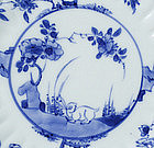 A Pair of Chinese Porcelain Rabbit Dishes, Kangxi.