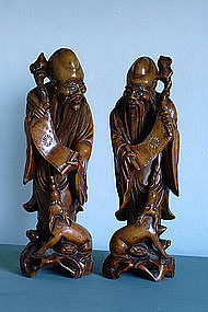 A Large Pair of Chinese Boxwood Figures, 19th Century.