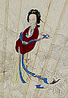 A Chinese Fan Painting, River Sprite, 19thC.