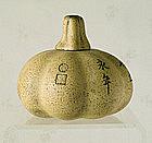 A Yixing Pumpkin Water Dropper, 18th ~ 19th Century.