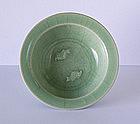 Fine Longquan Celadon Twin Fish Dish, 13th ~ 14th C.