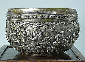 A Very Fine Silver Ceremonial Bowl, Burma, 19th C.