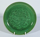 Chinese Green Dragon Dish, 18th ~ 19th Century.