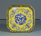 Chinese Cantonese Enamel Dragon Dish, 18th ~ 19thC.