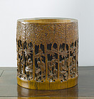 Chinese Bamboo Bitong, Brush Pot, 19th Century.