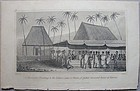 "Hawaii Engraving 1826 "" Missionary Preaching.at Kairua"""