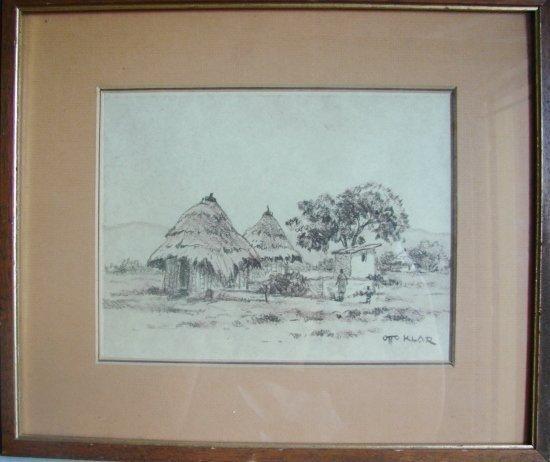 South African Artist OTTO KLAR Huts Figures - Landscape