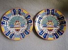 Fine Pair 18th Century Delft Polychrome Peacock Plates