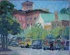 """Downstreet"" Sag Harbor 1953 - TD Greeley Jr. Oil/Board"