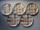 Set Five PIERO FORNASETTI Plates ORCHESTRA 1950's