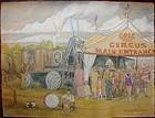 LARGE Cole Bros Circus Scene REYNOLDS BEAL 1936