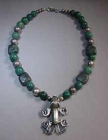 SIGI PINEDA Pre-Columbian Pendant Green Stone Necklace