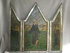 Unusual Icon/Retablo Triptych on Tin - St. Augustine