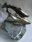 Bronze Fish on Granite Base - Charles Reussner ca 1930