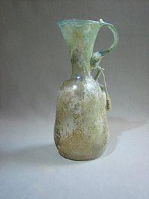 Funnel Neck Green ROMAN GLASS Handled Jug/Ewer