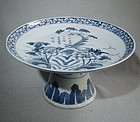 Well Painted Qing Tazza/Stem Plate with Inscription