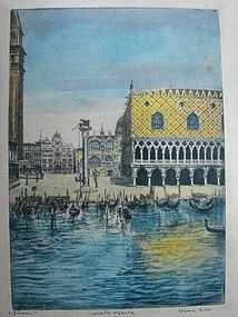 Large Colored Etching BELA SZIKIAY Doges Palace Venice