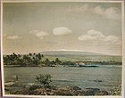 RARE Large Colored Photo of MAUNA KEA from Hilo Bay ca 1930