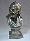 Silvered Bronze Bust of Voltaire - Paris Foundry ca 1880