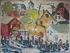 Modernist Provincetown View - Oil on Board ca 1940