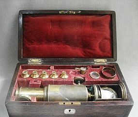 19th Century Martin Style Drum Microscope - Rosewood Case