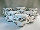 Ten Evesham Royal Worcester Cream Soup Bowls and Saucers ca 1970