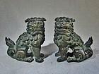 Fine Pair Bronze Komainu Figures Edo/Meiji Era