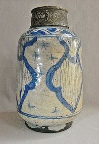 17th Century Safavid Ceramic Jar with Bronze Incised Neck