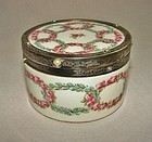 Silver and Pearl Mounted French Porcelain Box - Saint Yves Paris