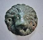 Roman Bronze Lion's Head Roundel/Applique