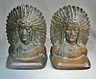 Heavy Well Cast Bronze Indian Chief Bookends ca 1890