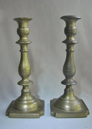 "Pair 10"" Russian Sabbath Brass Candlesticks - 19th Century"