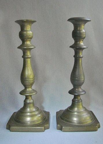 """Pair 10"""" Russian Sabbath Brass Candlesticks - 19th Century"""