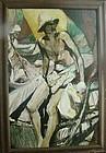 JANET REID (1894-1988) Oil on Masonite - Fishermen on Shore