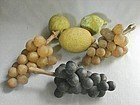 Fine Group Six  Antique Stone Fruit - Three Grape Bunches