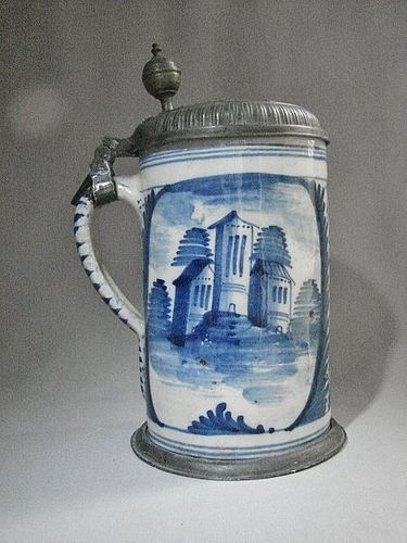 Faience Pewter Mounted German Tankard 1784