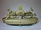 Large Renaissance Revival Figural Brass Inkstand 19th Century