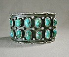 Wide 12 Turquoise Stone Navajo Cuff Bracelet