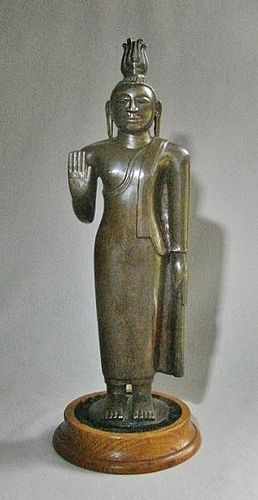 "13"" Solid Cast Standing Bronze Buddha - Sri Lanka"